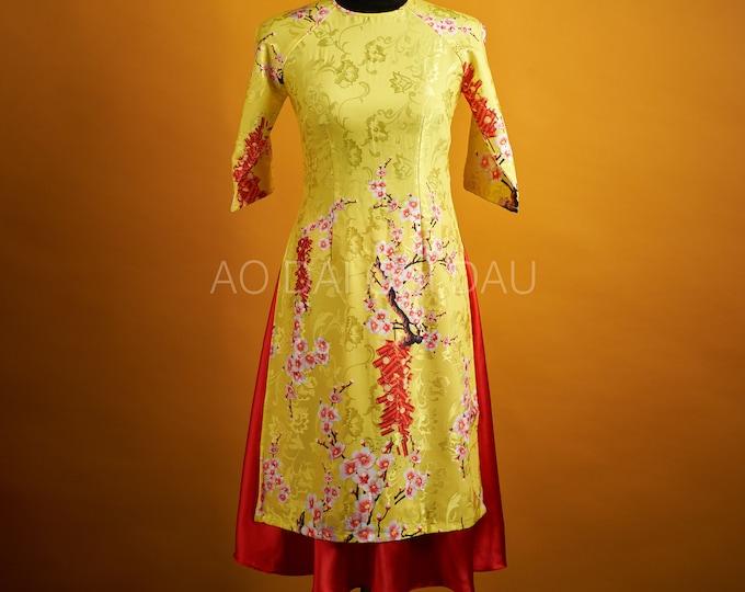 Pre-made Vietnamese Modernized Ao Dai With a Skirt - Áo Dài Cách Tân Tết