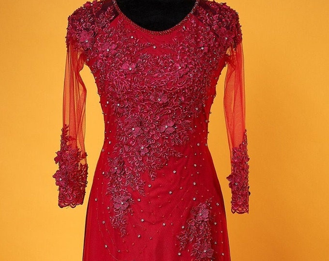 Pre-made Ao Dai in Red Triple Layers With Lace and Beading Details (Pants Included)