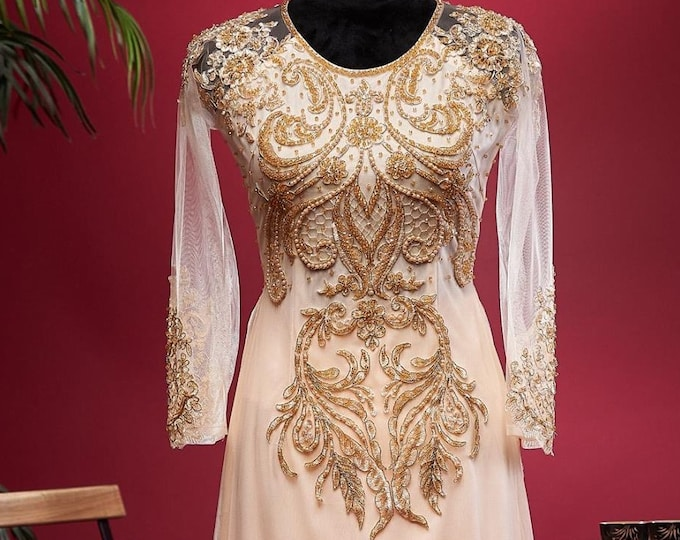 Pre-made Ao Dai in Nude/Gold Triple Layers With Lace and Beading Details (Pants Included)