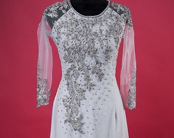 Pre-made Ao Dai in Silver/Gray Triple Layers With Lace and Beading Details (Pants Included)