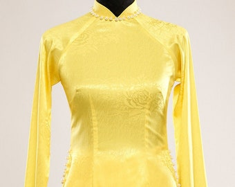 Pre-made Vietnamese Bridesmaid Ao Dai With Pants in Yellow - Áo Dài Dâu Phụ  (FREE SHIPPING