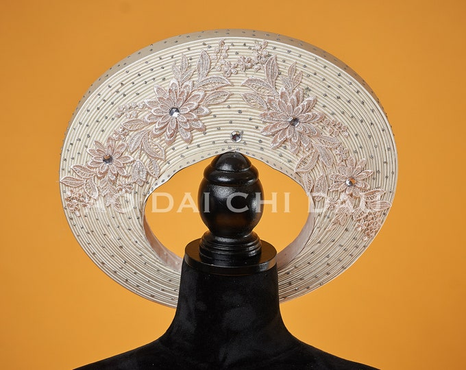 Headpiece for Vietnamese Ao Dai in Nude with Beautiful Details - Khăn Đống