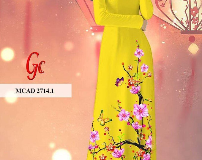Made-to-order Ao Dai With Pants On 3D Imprint Stretchy Silk Fabric