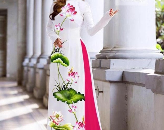 Ao Dai With Pants On 3D Imprint Stretchy Silk Fabric (Made-to-order)