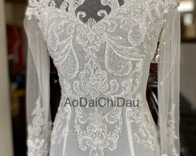 Wedding Ao Dai in White with Beautiful Details - Áo Dài Cưới