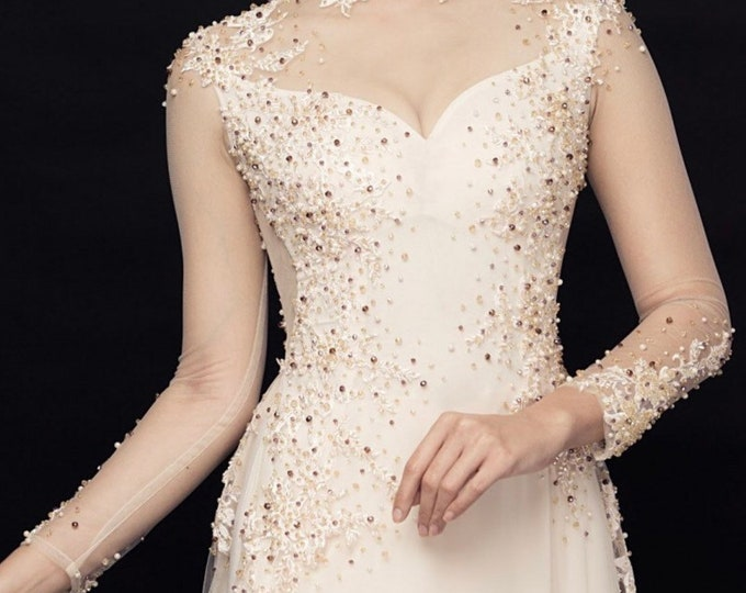 Vietnamese Wedding Ao Dai Double Layers with Hand-beading Details in White
