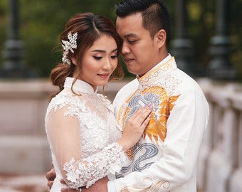 Wedding Ao Dai in Red or White with Beautiful Details - Áo Dài Cưới