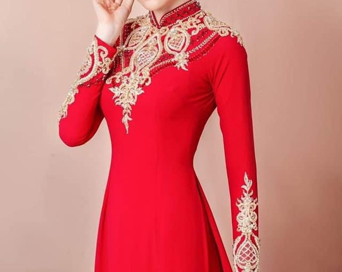 Wedding Ao Dai in Red and Gold with Beautiful Details - Áo Dài Cưới