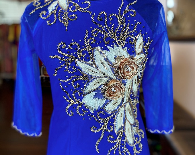 Pre-made Vietnamese Ao Dai Double Layers with Hand-beading Details in Blue