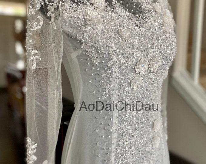 Vietnamese Wedding Ao Dai in White with Beautiful Details - Áo Dài Cưới