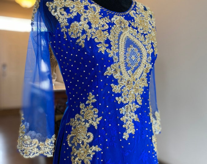 Pre-made Ao Dai in Blue Triple Layers With Lace and Beading Details (Pants Included)