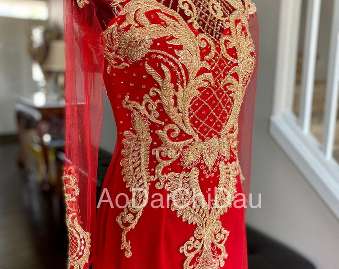 Vietnamese Wedding Ao Dai in Red and Gold with Beautiful Details - Áo Dài Cưới