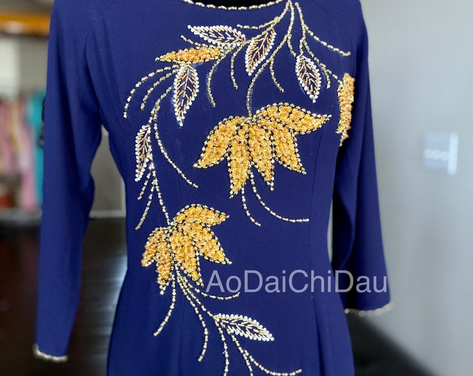 Vietnamese Ao Dai Double Layers with Hand-beading Details in Navy Blue