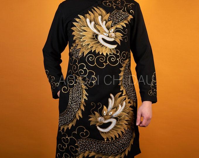 Pre-made Vietnamese Black Men Ao Dai with Gold Hand-painted Dragon - Áo Dài Cách Tân Nam Rồng Vẽ Tay
