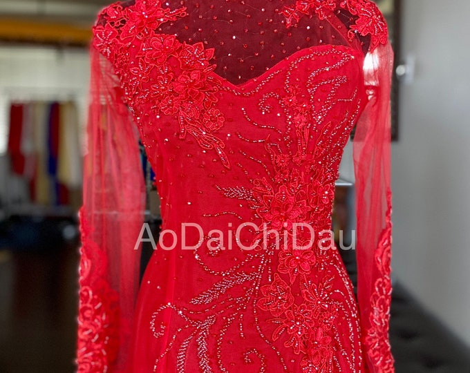 Wedding Ao Dai in Red with Beautiful Details Custom Size - Áo Dài Cưới