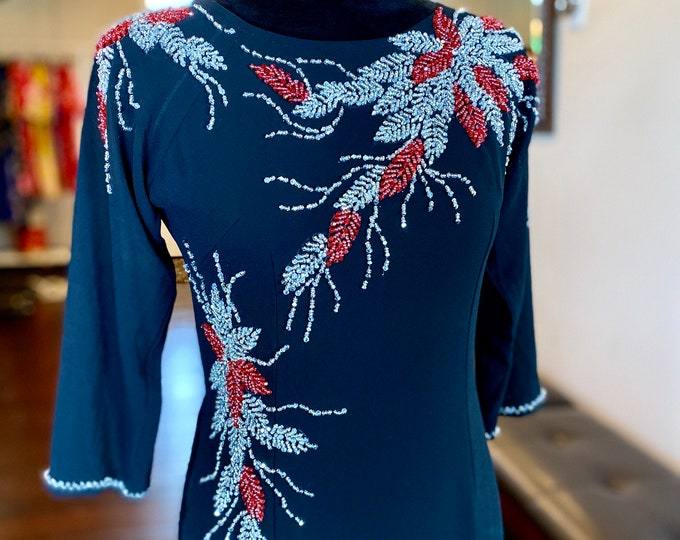 Pre-made Vietnamese Ao Dai Double Layers with Hand-beading Details in Black