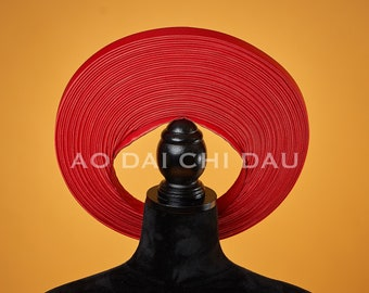 Headpiece for Vietnamese Ao Dai in Red - Khăn Đống