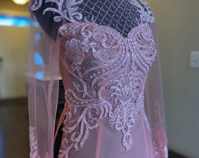 Custom Size Wedding Ao Dai in Pink with Beautiful Details - Áo Dài Cưới