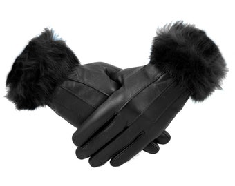 Ladies Black Real Leather Gloves With Fur Trim Luxury Gift Fleece Lined Warm Medium Large X-Large Genuine Christmas Winter Evening