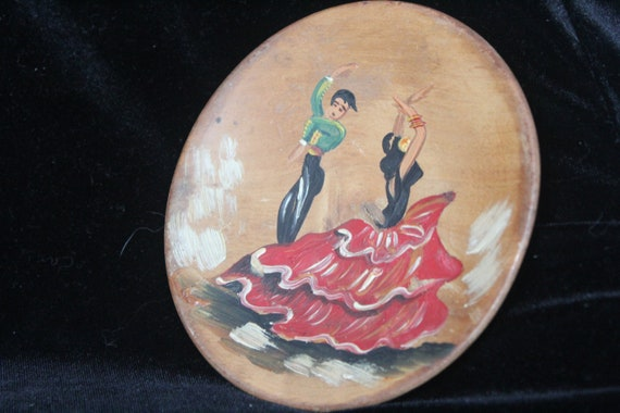 Vintage 1960/'s Spanish Flamenco Dancers Hand Painted Wooden Plates