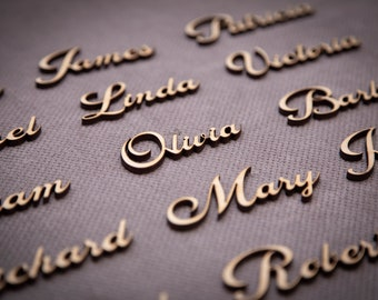 Beautiful Wedding place card, laser cut names. Wedding place names, table name cards. Wood place card