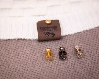 Faux leather product tags, beautiful knitting labels.