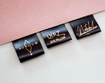 Qty 200 - Custom logo labels - Custom fold over satin label - Fold over satin tag - Custom logo labels - Custom brand label - Clothing