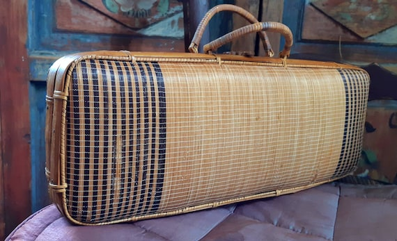 Small vintage rattan and bamboo suitcase
