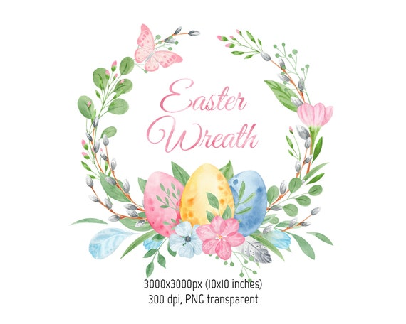 Watercolor Easter wreath clipart tulips Frames with gnomes bunnies eggs clip art Set for scrapbook spring holiday invitation PNG