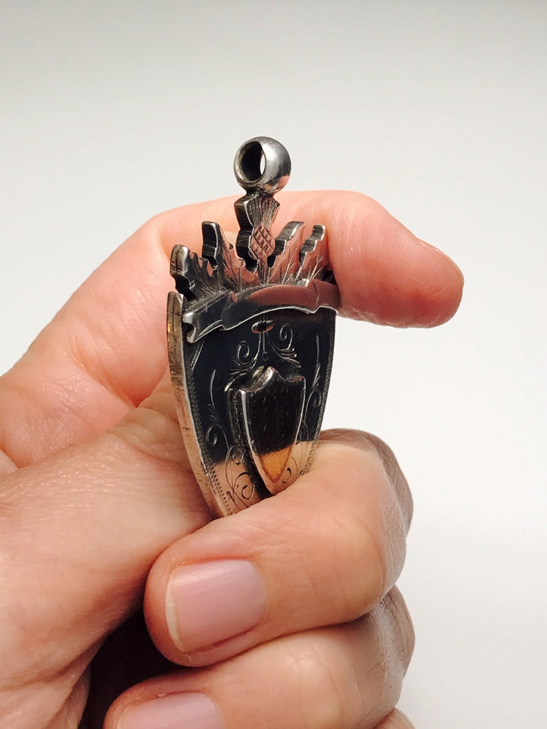 Excellent Heavy Victorian silver and gold FobPendant 1895 gothic