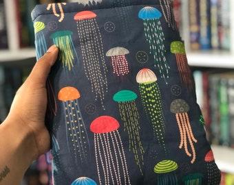Jellyfish Booksleeve - Padded Book Sleeve - Tablet Sleeve - iPad Sleeve - Book Cover - Bookish Gift