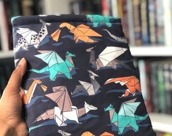 Origami Dragons Booksleeve - Padded Book Sleeve - Tablet Sleeve - iPad Sleeve - Book Cover - Bookish Gift