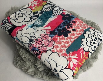 Book Sleeve - Large Book Sleeve - Pink Flower Pattern Sleeve - Booksleeve - Padded Book Sleeve - Tablet Sleeve - iPad Sleeve - Book Cover
