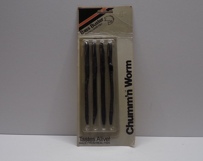 "Vintage bass buster chumm'n  rubber worm 4 pack of 6""worms from 1980s."