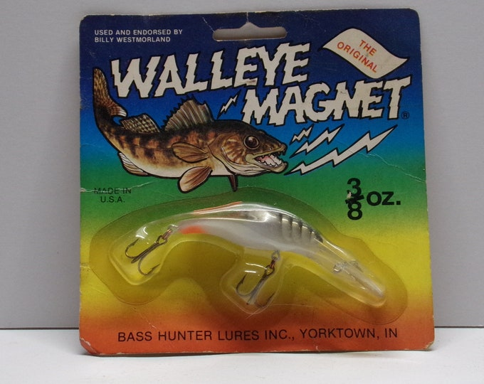 Vintage Walleye magnet crank bait made by bass hunter lures from 1970s 1980s.