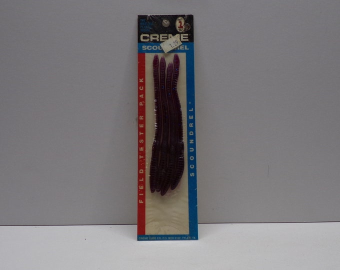 """Vintage creme scoundrel rubber worm 4 pack of 6""""worms from 1980s."""