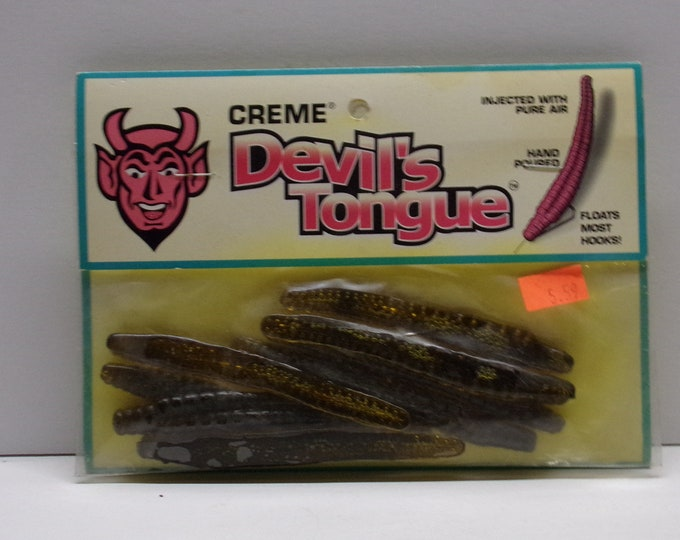 """Vintage creme devils tongue rubber floating worms 8 pack of 4""""worms from 1980s."""