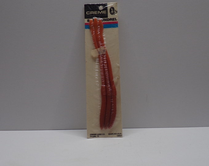 """Vintage creme scoundrel rubber worm 3 pack of 8""""worms from 1980s."""