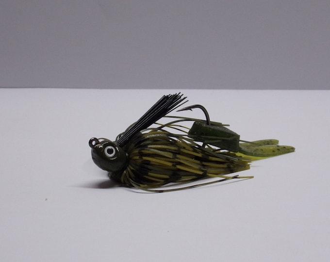 kamakazi bass jig 1/8 ounce lead free color green pumpkin made by bass buster baits