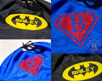 Custom Superhero Mask & Cape, Personalized Double Sided Capes, Kids Superhero Capes, Matching Cape and Mask, Superhero Capes, Superhero Mask