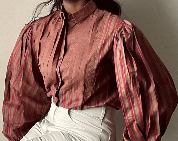 Vintage Pure Cotton Large Puff Sleeve Striped Blouse