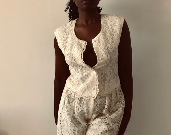 Vintage 80's All Lace Cream Two Piece Vest And High Waisted Trousers Suit