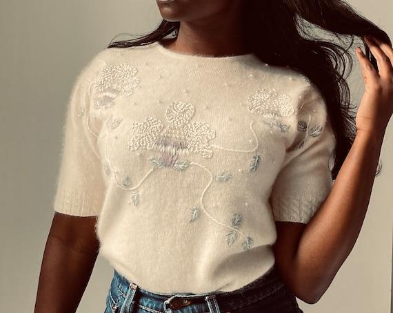Vintage Mid Century Cream Embroidered Angora Puff Sleeve Knit Top