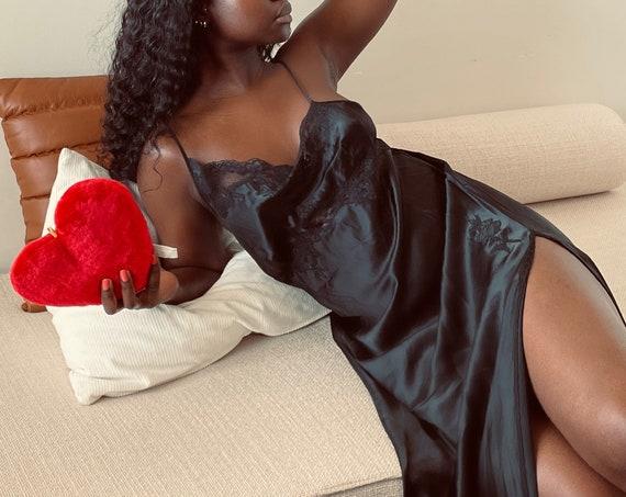 Vintage 90s Asymmetric Pure Silk Black Slip Dress