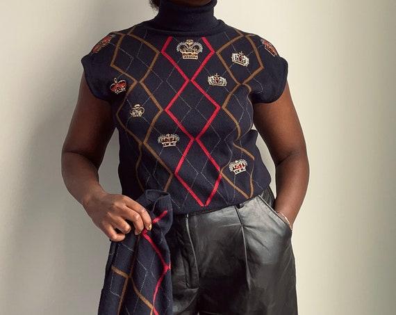 Vintage Rare ESCADA Navy Wool Cardigan and Vest Set