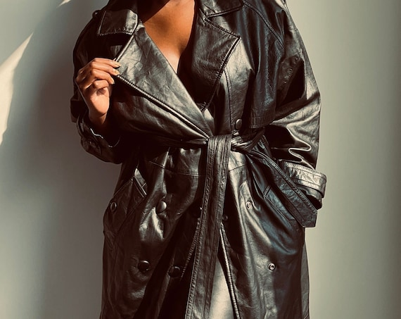 Vintage Pure Leather Black Trench Coat