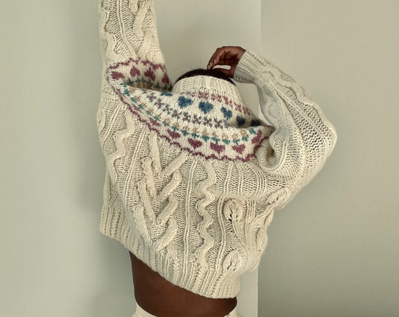 Vintage Handmade Wool and Mohair Patterned Knit Sweater