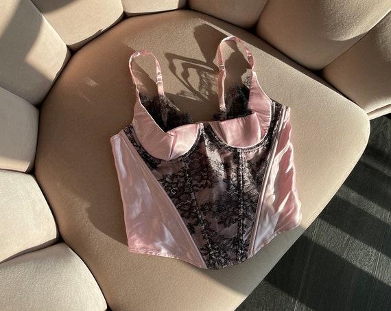 RARE Vintage 90s Victoria's Secret Silk Princess Pink Lace Bustier 34B/32C/36A