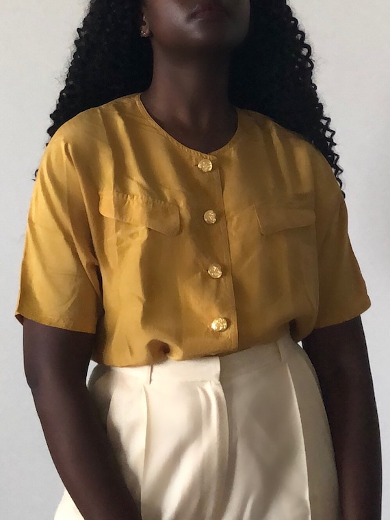 Vintage Pure Silk Mustard Yellow Short Sleeve Blo… - image 5