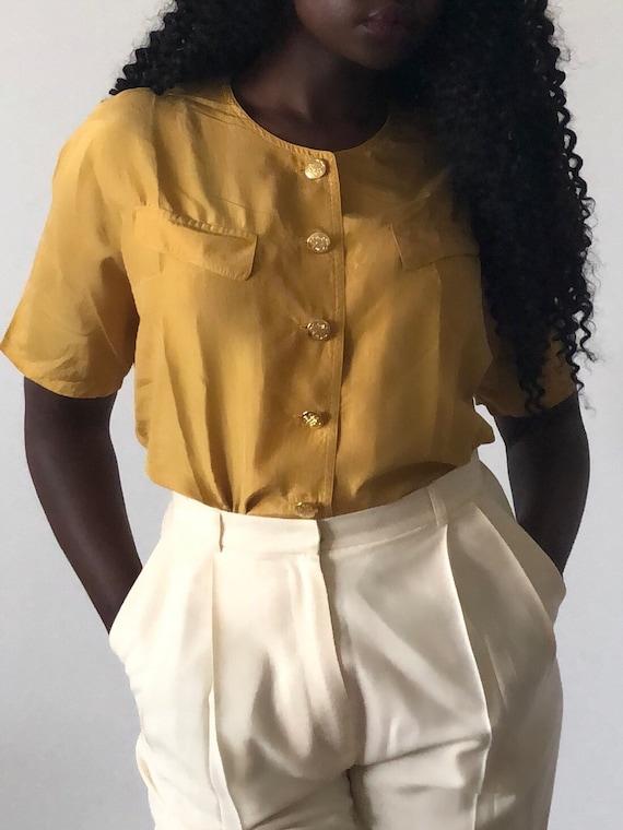 Vintage Pure Silk Mustard Yellow Short Sleeve Blo… - image 2